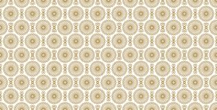 Golden floral pattern, part 05. Seamless golden pattern with flower in outlines and rhombuses the white background. Can use for wrapping paper, textile and Stock Photography