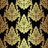 Golden floral seamless Pattern on black. Royalty Free Stock Images