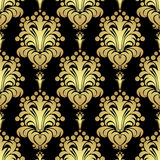 Golden floral seamless Pattern on black Stock Photo