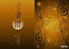 Golden floral vintage menu cover design Royalty Free Stock Images