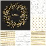 Golden floral wreath and seamless patterns collection Royalty Free Stock Photography