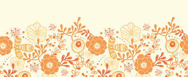 Golden florals horizontal border seamless pattern Stock Image