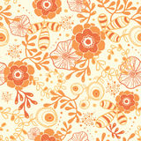 Golden florals seamless pattern background. Vector golden florals elegant seamless pattern background stock illustration