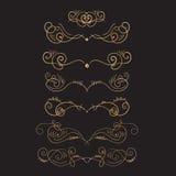 Golden Flourish embellishments. Filigree calligraphic elegant swirls elements for tattoo illustration.  vector illustration
