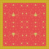 Golden Flourish pattern with hearts on red and golden border Royalty Free Stock Photo