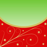 Golden Flourish pattern with stars on red and a large copy space Royalty Free Stock Photos