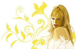 Golden flower. Beauty woman with styled golden flower behind Royalty Free Stock Images