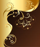 Golden flower. Gilded flower of fine jewelry and gold beads Stock Photos