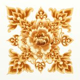 Golden Flower of Damask Seamless Pattern Stock Photo