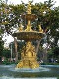 Golden flower garden fountain Royalty Free Stock Images