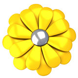 Golden flower icon 3d Stock Image