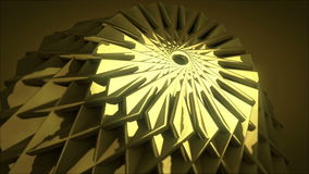 Golden Flower. Golden Flower Opening. Computer generated 3D Animation. Loopable stock video footage