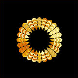 Golden flower shaped frame Royalty Free Stock Image