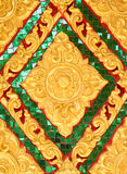 Golden flower of Thai stucco art. Stock Image