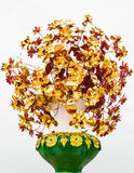 Golden flower in vase , Isolated Stock Image