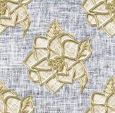 Golden flowers on denim background. Seamless pattern Stock Photography
