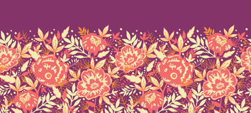 Golden flowers and leaves horizontal seamless Stock Photo