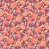 Golden flowers and leaves seamless pattern Stock Images