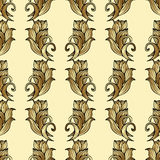 Golden flowers, plants and leaves seamless pattern, abstract vector background. Expensive, luxury design for wallpaper, fabric, wr Royalty Free Stock Photo