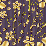 Golden Flowers Seamless Pattern_eps Stock Image