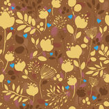 Golden Flowers. Vector Seamless Pattern royalty free stock photo