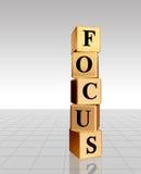 Golden focus with reflection. 3d golden cubes with text - focus, word, with reflection stock illustration