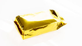 .Golden foil bag package on white background. Golden foil bag package on white background Royalty Free Stock Photo