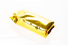Golden foil bag package on white background. Golden foil bag package on white background Royalty Free Stock Images