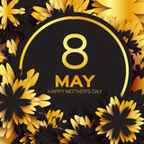 Golden foil Floral Greeting card - Happy Mother's Day - Gold sparkles holiday black background with paper cut Frame Flowers Stock Photo