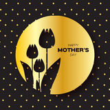 Golden foil Floral Greeting card - Happy Mother's Day - Gold Sparkles holiday black background with Spring Tulips. Stock Images