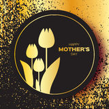 Golden foil Floral Greeting card - Happy Mother's Day - Gold Sparkles holiday black background with Spring Tulips. Royalty Free Stock Image
