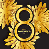 Golden foil Floral Greeting card - Happy Mother's Day - 8 May- Gold sparkles holiday. Black background with paper cut Frame Flowers.Trendy Design Template for Royalty Free Stock Images
