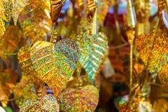 Golden foil leaf background. Royalty Free Stock Image