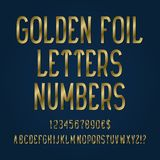 Golden foil letters, numbers, dollar and euro currency signs, exclamation and question marks.  royalty free illustration