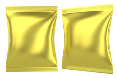 Golden foil plastic pillow bag for food Stock Photography