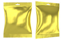 Golden foil plastic pillow bag slot hole Stock Photos