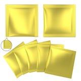 Golden foil plastic powder sachet Stock Photo