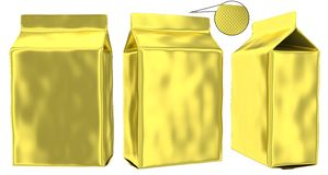 Golden foil pouch gusseted plastic bag Royalty Free Stock Images