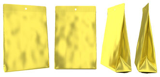 Golden foil pouch gusseted plastic bag Royalty Free Stock Photos