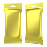 Golden foil pouch sealed plastic bag Royalty Free Stock Photography