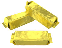 Golden foil pouch silver gusseted plastic bag Stock Images