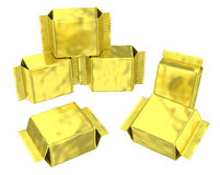 Golden foil pouch silver gusseted plastic bag Stock Photo