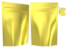 Golden foil resealable standing plastic bag Royalty Free Stock Image