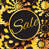 Golden Foil Spring Summer Sale banner with frame for business. Applique Card with origami flowers. Royalty Free Stock Images