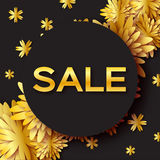 Golden Foil Spring Summer Sale banner with frame for business. Applique Card with origami flowers. Stock Photography