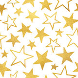 Golden foil stars isolated on white seamless pattern Royalty Free Stock Image