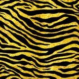 Golden foil tiger or zebra seamless pattern illustration Royalty Free Stock Images