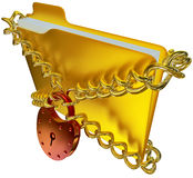 In golden folder with red hinged lock Royalty Free Stock Photo