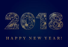 2018 golden folk pattern happy new year card Stock Images