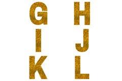 Golden font Alphabet g, h, i, j, k, l made of golden sparkle background.